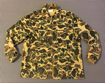 1970's, flannel, zip front, shirt-jacket, in camouflage, Men's size Large