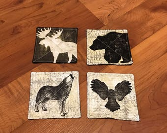 Quilted Coasters - set of 4 - wildlife