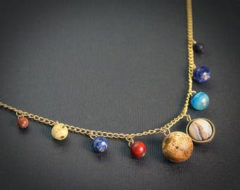 Gemstone Solar System Necklace - Gold