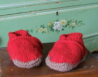 6 Month Baby Slippers Wool Booties Hand Knit Winter Baby Socks