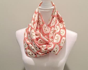 Light Coral Pink Kitty Cat Jersey Knit Infinity Scarf