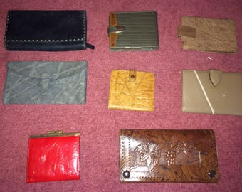 Collection of 8 leather wallets and purses 1980s and 90s