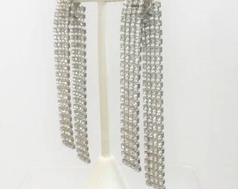 Vintage 1950's Gorgeous Double Layered Rhinestone Clip On Earrings