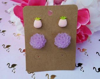 Dahlia and Pineapple Earring Set