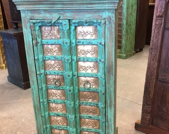 Antique Armoire Moroccan Islamic Calligraphy Brass Green Patina Storage Cabinet Eclectic Vintage Indian Furniture