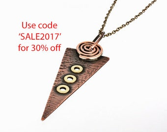Large Artisan Crafted Mixed Metal Copper and Brass Tribal Inspired Pendant Necklace. Summer Sale, Reduced, 30% off