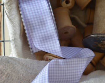 lavender and white check ribbon