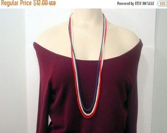 50% Off Estate Sale Vintage Patriotic Necklace, Red white and Blue chains multistrand necklace american vintage jewelry