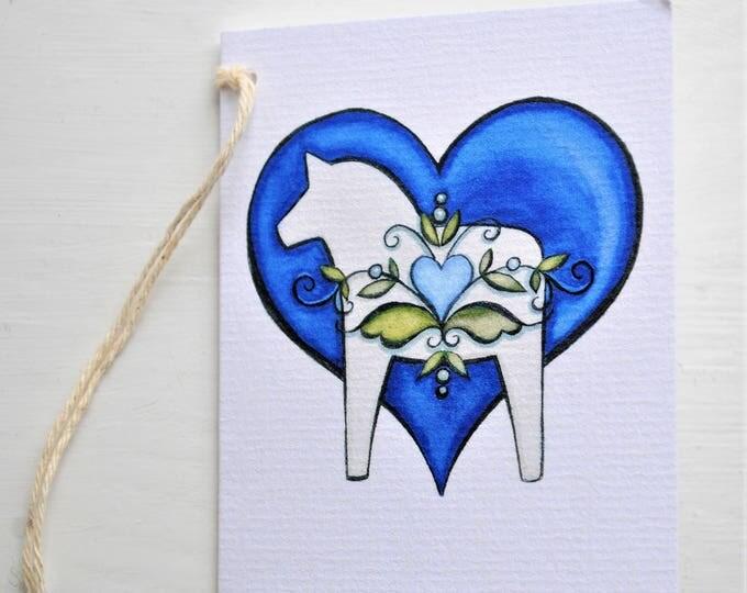 Dala Horse and Kurbits Blue Enclosure Card Swedish