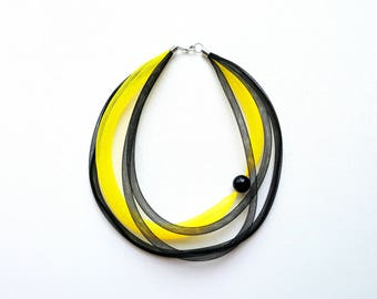 Statement necklace Black Yellow necklace Contemporary jewelry Multi strand necklace Asymmetrical jewelry Mesh necklace Modern necklace.