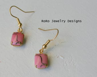 Pink and Gold Art Deco Dangle Earrings