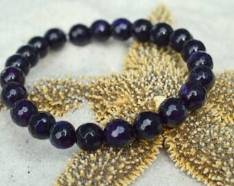Purple Agate Bracelet- Gemstone Stacking Bracelet- Stacker Bracelet- Stretch Cord Design
