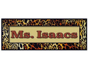 Personalized Teachers Classroom Sign, 16 x 6 printed on canvas, mounted and ready to hang with self stick tape. And Free Shipping
