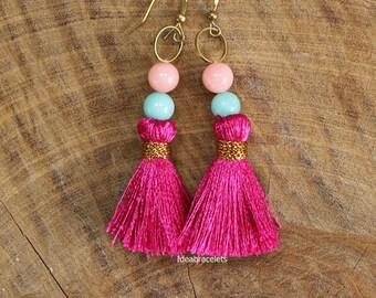 Boho Beads Tussel Dangle Earrings, Boho Drop Earrings, Cute Earring, Girl Jewelry, Gift For Girl, Brass Earrings, Bridesmaid Gift - Fuchsia