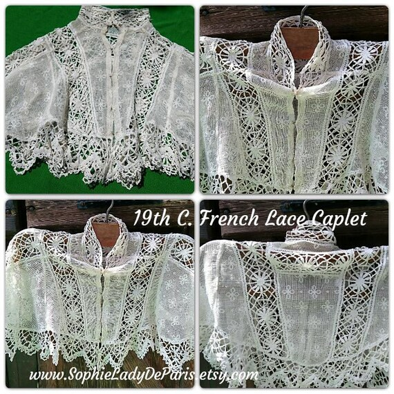 Victorian Lace Capelet Antique White French Cotton Net Lace Shoulder Cover Museum Quality Collectible #sophieladydeparis