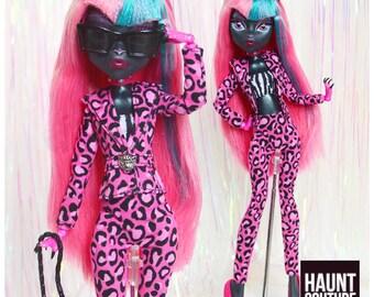 "Monster Doll Haunt Couture 2017 ""Cat Suit"" high fashion doll clothes | Leopard | Animal Print | Popstar | Suit |"