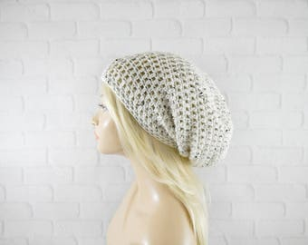 Oatmeal Slouch Hat, Extra Slouchy Beanie, Womens Beanie, Crochet Beanie Hat, Slouchy Winter Hat, Super Slouchy Hat, Hipster Beanie