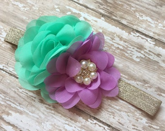 Mermaid Headband, Purple, Mint and Gold Sequin Mermaid Headband gold, lavender and mint mermaid baby headband, mint elastic, 1st birthday