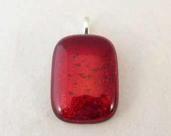 Red Dichroic Fused Glass Pendant, Fused Glass, Fused Glass Pendant, Glass Pendant, Dichroic Pendant, Dichroic, Red Pendant, Red
