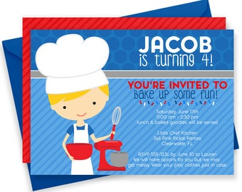 Cooking Invitation, Cooking Party, Cooking Party Invitations, Baking Invitation, Baking Party Invitations, Baking Party, Chef Party | 367