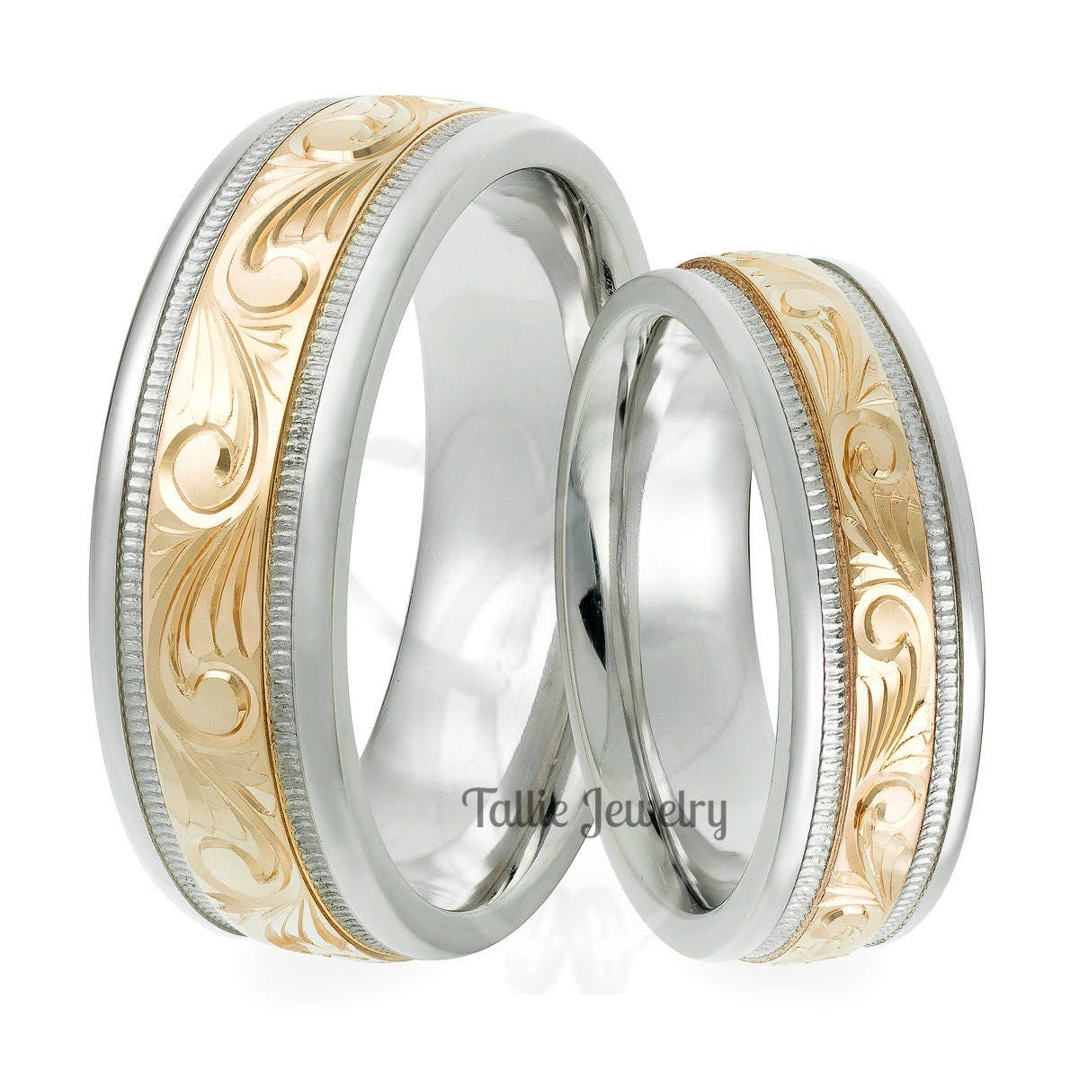 hand engraved matching wedding rings,14k two tone gold his & hers
