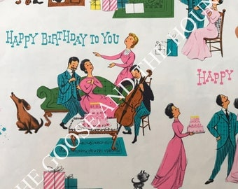 Vintage Gift Wrapping Paper - A Gay 1950s Birthday Celebration - Oh So Retro - Mid Century by Laurel - 1 Unused Full Sheet Gift Wrap