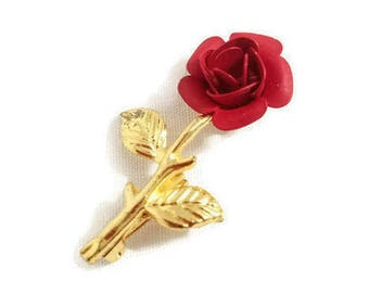 Red Rose Brooch Gold Tone Flowe Lapel Pin Gold Vintage Jewelry