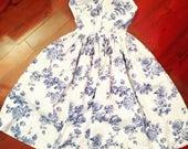 Vintage 50s Rose Print Cotton Sun Dress Novelty Print XS S