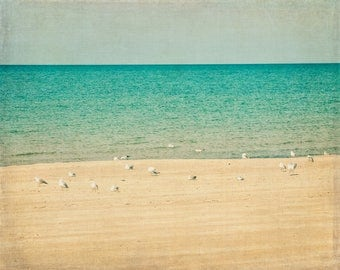 Tranquility at Lake Michigan, Michigan, Michigan City, Indiana, Beach House decor, Cabin decor, peaceful art, nautical, seagulls, shore