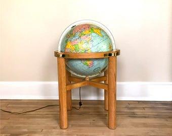 Vintage Replogle Heirloom Floor Globe / 16 Inch / Illuminated / Wood Stand / Cradle Mount Full Meridian / LeRoy M. Tolman / Office Library