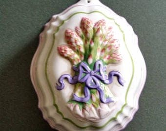 Le Cordon Bleu Asparagus Jello Aspic Mold and Wall Hanging -  The Franklin Mint - 1986 - With Nail Ready to Hang - Provencal Decor