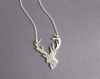 Lace textured solid silver stag necklace on sterling silver chain