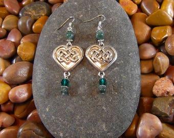 Moss Agate Celtic Heart Earrings - Celtic Heart, Celtic Heart Earrings, Moss Agate Celtic Earrings, Celtic Earrings, Celtic Jewelry, Celtic