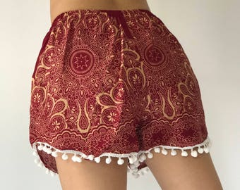 PP0038 Pom pom Shorts Beach Summer pants Freshy pants Fashion short Chic Clothing Aztec Ethnic Bohemian Ikat Boxers Short Pants Unique