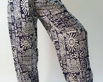 CH0401 Rope and Elastic Waist Lady pants - bohemian clothing women yoga pants harem pants hippie trousers