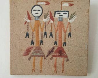 Native American Dancer Authentic Sand Painting 4 by 4 inches Ceremony New Mexico Art Signed Southwestern Spirit
