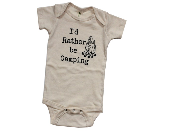 Featured listing image: I'd Rather be Camping Kids ORGANIC Snappie, Baby and Kids Tees, Camping Shirt, Camp Fire Bodysuit