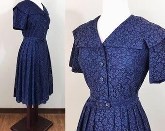 1940s Vintage Dress / Lace / Navy Blue / Rhinestone buttons / MEDIUM