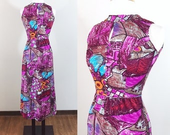 Vintage 1960s Dress / Novelty Print / Cubism art print / Cityscape / Maxi