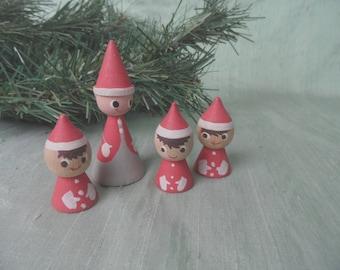 4 Tiny Vintage Jali Denmark Wood Elf Tomte Nisse Christmas Painted figures, Santa
