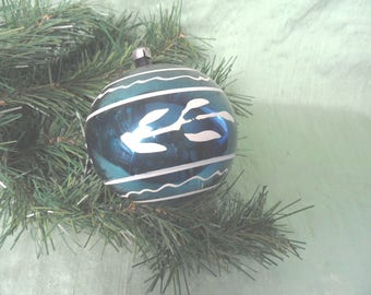 """Larger painted glass ornament in blue / 3"""" vintage bauble"""