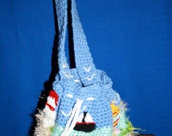Sea landscape themed shoulder bag