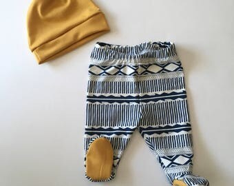 Navy and Mustard Footed Pants and Knotted Hat, hospital outfit, baby outfit,