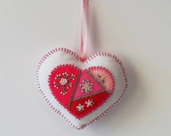 Handmade Felt White Heart Ornament with Embroidered Crazy Patch Center