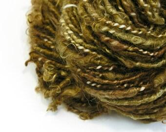 Textured Yarn, Kid Mohair,  Handspun Yarn, Chunky Yarn,  Handspun Art Yarn, Loose Locks, Art Yarn,  Brown Yarn, Soft Yarn - COPPER DREAM