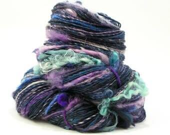 Art Yarn, Weaving Yarn, Knitting, Handspun Yarn, Handspun Art Yarn, Textured Yarn, Crochet, Blue Yarn, Navy, Worsted Yarn, Bling - STARLIGHT