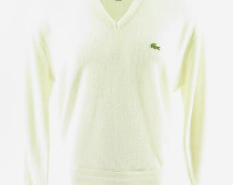 Vintage 80s Lacoste Sweater Mens L Izod USA Made Green Alligator [I03R_0-14_Shelf]