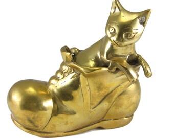 Brass Cat In Shoe Brass Cat Figurine FREE SHIPPING! Cat in Boot Figurine Collectible Brass Figurine Cat Collectible Brass Decor Cat Decor