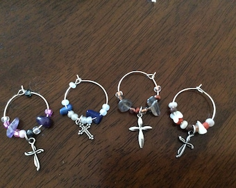 Wine Glass Markers Cross with Beads