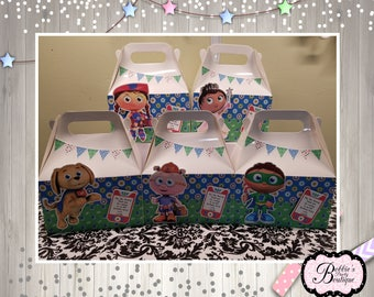 10 Super Why gable box, Super Why party favor boxes